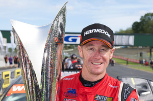 Greg Murphy with his winner's trophy at the final round of the V8ST's.
