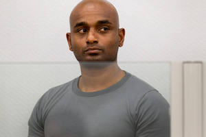 Dinesh Manoharan in the dock during his sentencing. Photo / Mark Mitchell