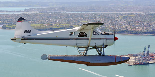 DHC-2 Beaver sea plane ZK-AMA during a test flight between Auckland and Great Barrier Island. Photo / John King