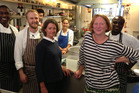 Melanie Arnold, left, and Margot Henderson with their kitchen staff at London's Rochelle Canteen. Photo / Grant Allen
