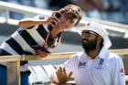 There were reports that the PA announcer used an Indian accent when announcing the name of England bowler Monty Panesar. Photo / AP