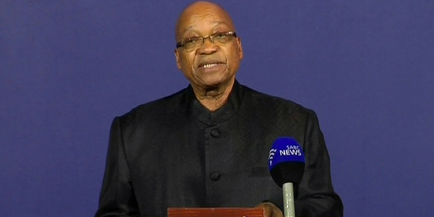 In this image from TV, President of South Africa Jacob Zuma announces the death of former South African President Nelson Mandela. Photo / AP