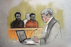 A court artist sketch by Elizabeth Cook of Michael Adebolajo, left, and Michael Adebowale. Photo / AP