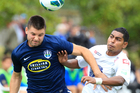 Auckland City midfielder Chris Bale, left, scored the opening goal to help his side to a 2-0 win over Waitakere United on Saturday. Photo / Richard Robinson