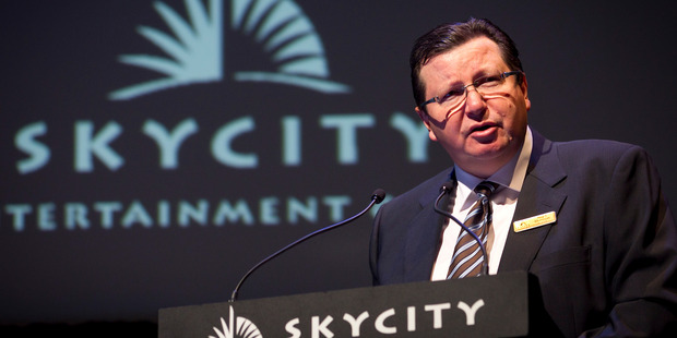 SkyCity chief executive Nigel Morrison speaks at the SkyCity Entertainment Group annual meeting in Auckland. Photo / Natalie Slade