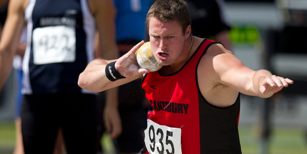 New Zealand shot putter Tom Walsh has thrown 20.45 metres in Melbourne today to set a New Zealand record.. Photo / Brett Phibbs