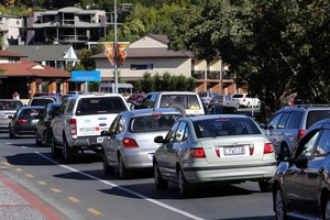 Traffic backed up to the Whangarei Town Basin, Monday evening 5.45pm