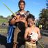Justin Tau and 8-year-old Tane Kaha Pukohu Penitani of winning education group Nga Purerehua o Matauranga. Photo / Peter de Graaf