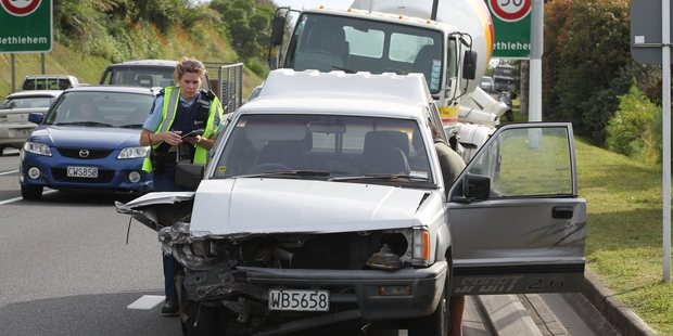 A concrete truck and a ute collided near the Wairoa bridge, created plenty of backed up traffic.