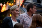 America's Cup skipper Dean Barker with wife Mandy turns on the  lights. Photo / Sarah Ivey