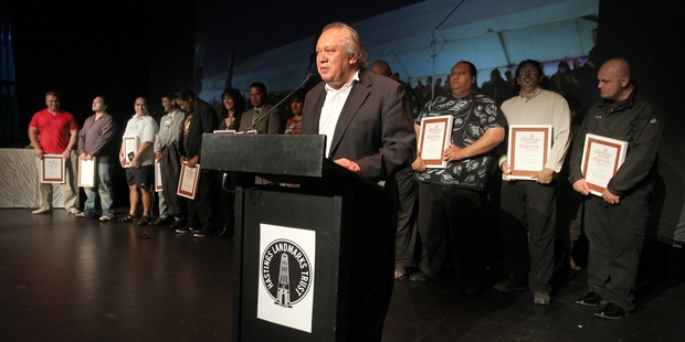 Tama Huata, from Nga Marae o Heretaunga, accepts the Jeremy Dwyer Supreme Award at the Landmarks Awards ceremony last night. Photo/Duncan Brown.