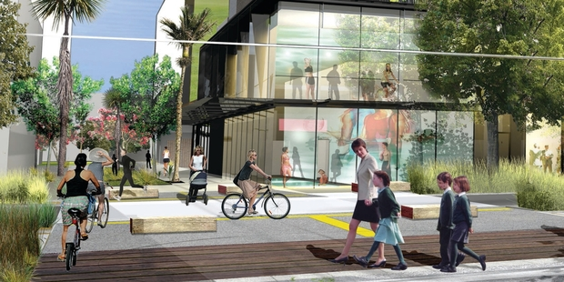 Artists' impressions of the planned Wynyard Quarter feature car-free walkways and lush planting. The 2.76ha waterfront development will have about 1500 apartments, built to house 4000 or so residents.