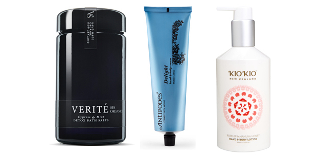 Verite Spa Organics Cypress & Mint Detox Bath Salts $33, Antipodes Delight Hand & Body Cream $42.90, Kio Kio Rosehip & Manuka Honey Hand & Body Lotion $29.90.