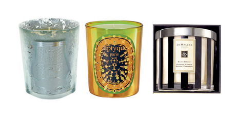 Cire Trudon Bethlehem; Diptyque Pine Wood Candle; Jo Malone Blue Spruce Deluxe. Photos / Supplied.