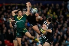 Australia's Jarryd Hayne, left, here battling Manu Vatuvei, is among league's greatest players. Photo / Getty Images