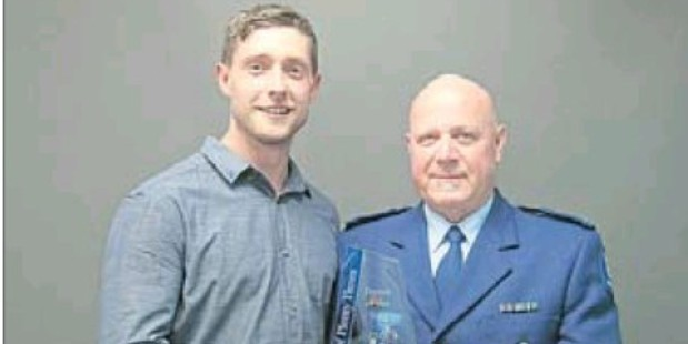 HERO: Constable Deane O'Connor (right) and the man he saved, Ashley Donkersley, at the Bay of Plenty Times Person of the Year ceremony.