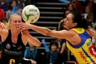 Laura Langman (left) was under pressure from Joline Henry during the 2012 ANZ Championships. Expect more of the same in March.  PHOTO/FILE