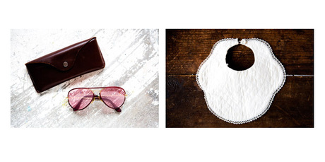 Pink-lens Ray-bans and vintage baby clothes