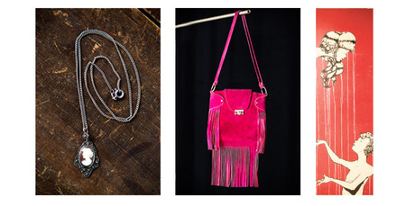 L-R: Hermes handbag, cameo necklace, painting by Elliot Francis Stewart