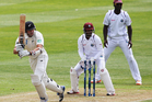 Peter Fulton of New Zealand works the ball away for four runs. Photo / Getty Images.