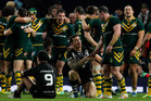 Paul Gallen of the Kangaroos shakes hands with Sonny Bill Williams. Photo / Getty Images