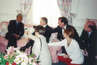 Mandela with Jim Bolger and press gallery journalists in Pretoria, November 1995.