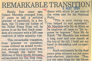 The Herald editorial on Nelson Mandela from May 4, 1994.