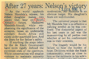 The Herald editorial on Nelson Mandela from February 13, 1990.