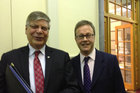 IS director Warren Tucker, left, and GCSB Director Ian Fletcher today. Photo / Audrey Young