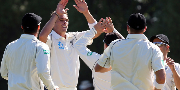 Tim Southee celebrates taking a wicket. Photo / Getty Images