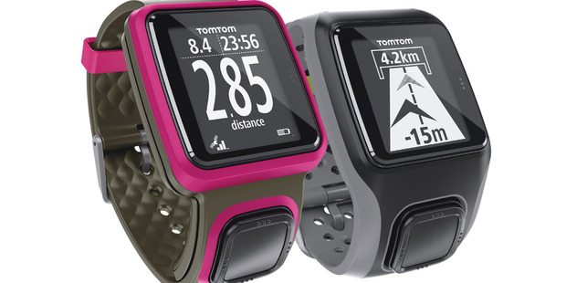 TomTom's multisport watch - tracks swimming, cycling, running. The only button is the one on the strap, which acts similar to a mouse - up, down, left and right.
