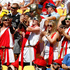 England supporters cheer their side during the Hertz Sevens rugby tournament at Westpac Stadium in Wellington. Photo / Mark Mitchell