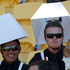 A lamp-shade theme for these two spectators during the Hertz Sevens rugby tournament at Westpac Stadium in Wellington. Photo / Mark Mitchell