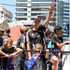 NZ team Gordon Tietjens and friends on their float during the rugby sevens parade in Wellington. Photo / Mark Mitchell