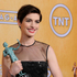 Actress Anne Hathaway poses backstage with the award for best female actor in a supporting role. Photo / AP
