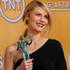 Actress Claire Danes poses backstage with the award for best female actor in a drama series. Photo / AP