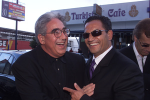 Lloyd Phillips with Temuera Morrison at the 2000 premiere for Vertical Limit in Newmarket, Auckland. Photo / Richard Robinson