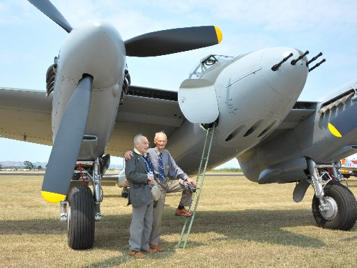 Wings Over Wairarapa Airshow, Hood Aerodrome Masterton, Saturday, veteran WW2 Mosquito pilots Alan Speirs and Ivon Warmington who flew with 128 Squadron based in England go over old times together