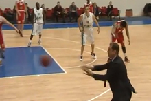 This ridiculous footage comes from the Russian basketball league on Sunday where Unics' coach Gundars Vetra claimed this crazy assist. Photo / Youtube.