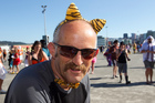 Gareth Morgan complete with tiger ears and bow tie at the Hertz Sevens rugby tournament. Photo / Mark Mitchell