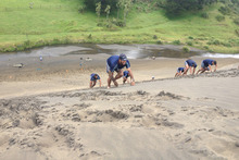 Rene Ranger leads the Blues team up dunes at a training session at Bethells Beach, west of Auckland. Coach John Kirwan wants the team to be super fit. Photo / Supplied 