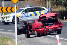 One of the cars in the Alfriston Rd crash. Photo / Doug Sherring