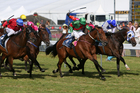 Blood Brotha (centre) holds off the flying Annie Higgins (outer) and Dolmabachie ( rails) to win the Wellington Cup at Trentham on Saturday. Photo / Getty Images