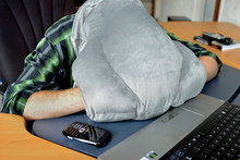 The Ostrich Pillow could revolutionise the power nap.  Photo / Malcolm Pullman