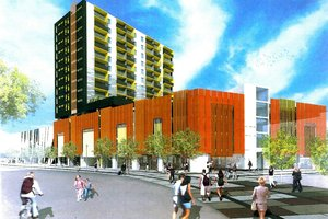 An artist's impression of the 50m-tall Merchant Quarter building. Photo / Supplied
