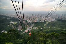 A cable car descends from Monserrate in Bogota. Photo / Supplied