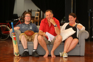 Actors John Leigh and Bronwyn Bradley (left and right) with director Peter Elliot (centre). Photo / Chris Gorman