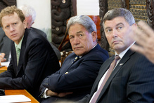 MPs Russel Norman, Winston Peters and Andrew Williams at the manufacturing inquiry. Photo / Mark Mitchell