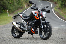 The KTM 200 Duke's light weight and fiendish gearing deliver attitude in spades, helped by a design that feels as purposeful as it looks. Photo / Jacqui Madelin