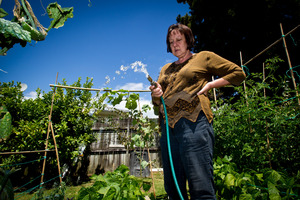 Helen Moore dislikes being charged a wastewater levy for water she sprays on her garden. Photo / Dean Purcell